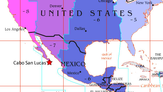 Map Of Us And Mexico With Time Zones What time zone is Cabo San Lucas in?