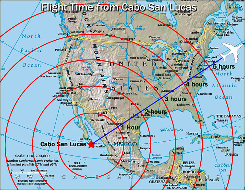 Flight time from Cabo San Lucas and Los Cabos